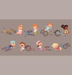Broken bicycle kids fallen from bike unhappy vector