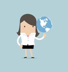 businesswoman spinning globe vector image