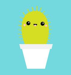 cactus icon in flower pot cute cartoon kawaii vector image