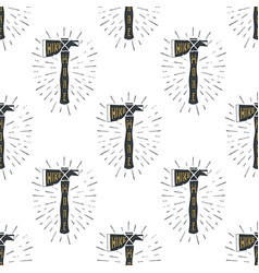 camping axes cross pattern lumberjack equipment vector image