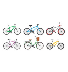 cartoon color different bicycles icon set vector image