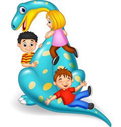 cartoon little kid playing on the dinosaur vector image