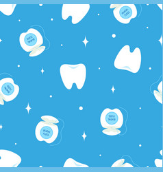 cartoon seamless pattern with teeth and dental vector image