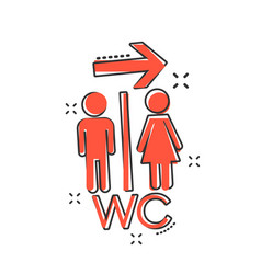 cartoon wc toilet icon in comic style men and vector image
