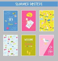 Childish summer beach vacation cards with kids vector