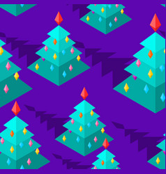 christmas tree isometric style pattern christmas vector image