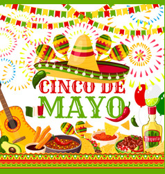 Cinco de mayo fiesta mexican greeting card vector