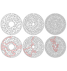Circular mazes 3 version with different complexity vector