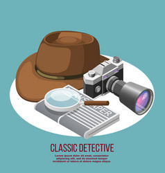 Classic detective isometric composition vector