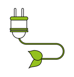 Color silhouette image cartoon green plug vector