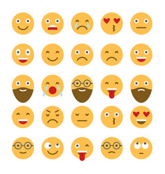 colored flat icons of emoticons smile with a vector image