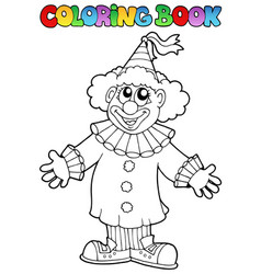Coloring book with happy clown 9 vector
