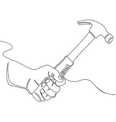 Continuous one line drawing hand with hammer vector