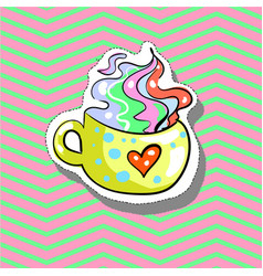 Cup love with heart fashion patch badge pin vector