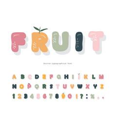 Cute cartoon font pastel colors alphabet girly vector