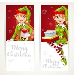 Cute Elf girls with gift on two vertical banners vector image