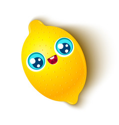 cute lemon in kawaii style vector image