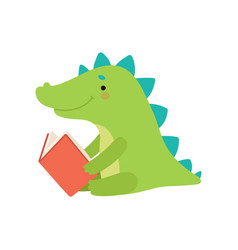 cute rocodile reading book adorable smart animal vector image
