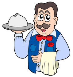 cute waiter with meal vector image