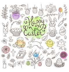 doodle easter design elements vector image
