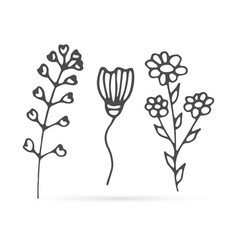 Doodle flowers set icon isolated on white outline vector
