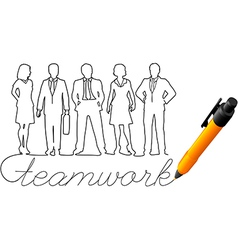 Drawing business team work people vector image vector image