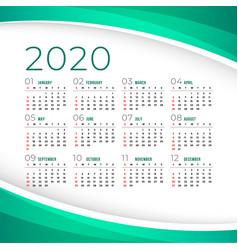 Elegant 2020 calendar template design vector