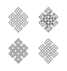 Engraving of endless knot symbol on white vector