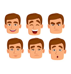 face expressions of man with brown hair vector image