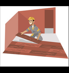 Floor installer male working with panels poster vector