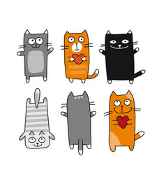 funny cats collection sketch for your design vector image