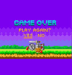 Game over pixel-game background with perished vector