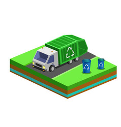 garbage removal with isometric bins and city truck vector image