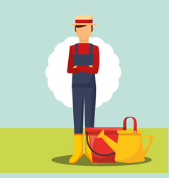 Gardener folded arms with bucket and watering can vector