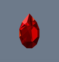 Garnet gem shining logo drop shaped vector