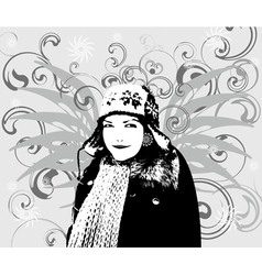 Girl Winter background vector image vector image