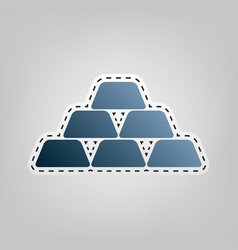 gold simple sign blue icon with outline vector image