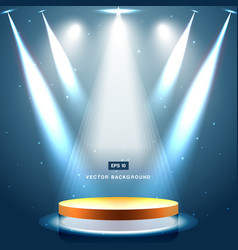 gold stage with spotlight and star on blue vector image