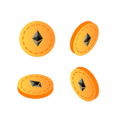 Golden 3d isometric ethereum coins vector