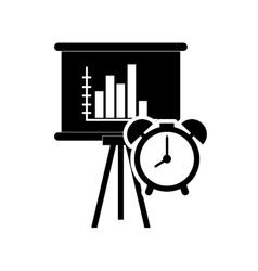 Graph chart and file clock icon vector