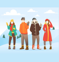 group young people at winter vector image