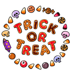 Halloween gingerbread cookiescolorful letters vector