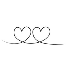 hand drawn continuous line drawing hearts vector image