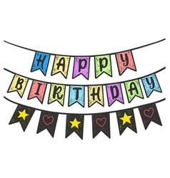 Happy birthday flags sketch vector