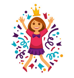 Happy birthday girl princess confetti party vector