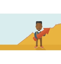Happy black guy holding arrow up sign vector image