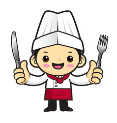 Head cook character is holding a fork and knife vector