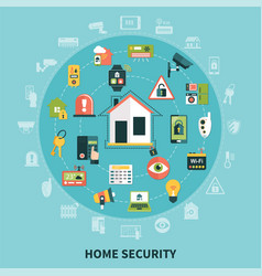 home security round composition vector image