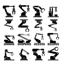 Industrial mechanical robot arm icons vector
