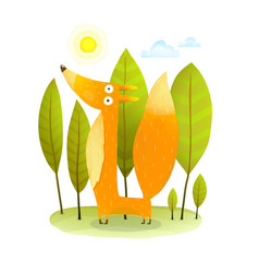 Kids fox in wild trees vector